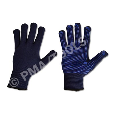 Safety gloves, rubber-coated, cotton, size L