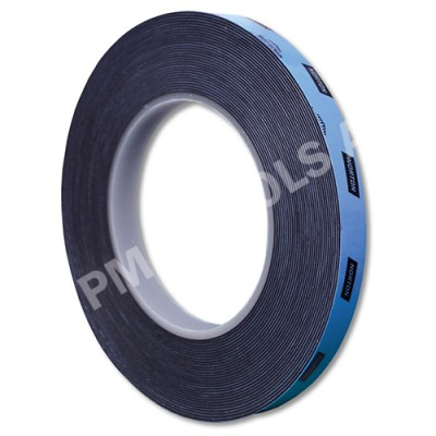 Double-sided urethane adhesive tape, black, 12 mm, 10 m roll