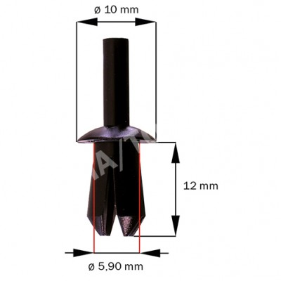 Fastener waterpanel/Inner panel, black