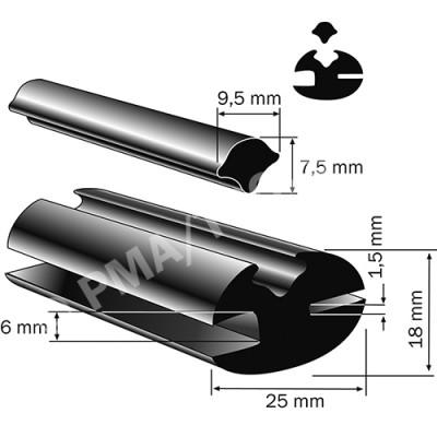 Weatherstrip profile, 25x18 mm, 25 m