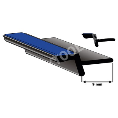 Underglass profile self-adh. with cover lip, 9 mm, 27 m (5024-27)