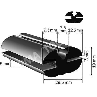 Weatherstrip profile, 29,5x19 mm, 15 m (5114)